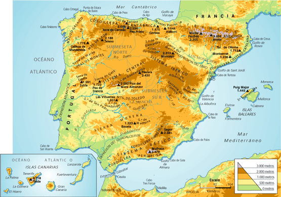 mapa fisico espana